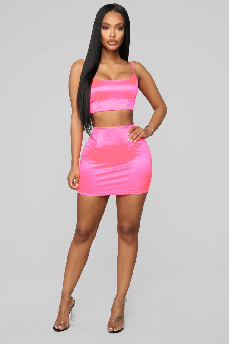True Icon Skirt Set - Neon Pink 5
