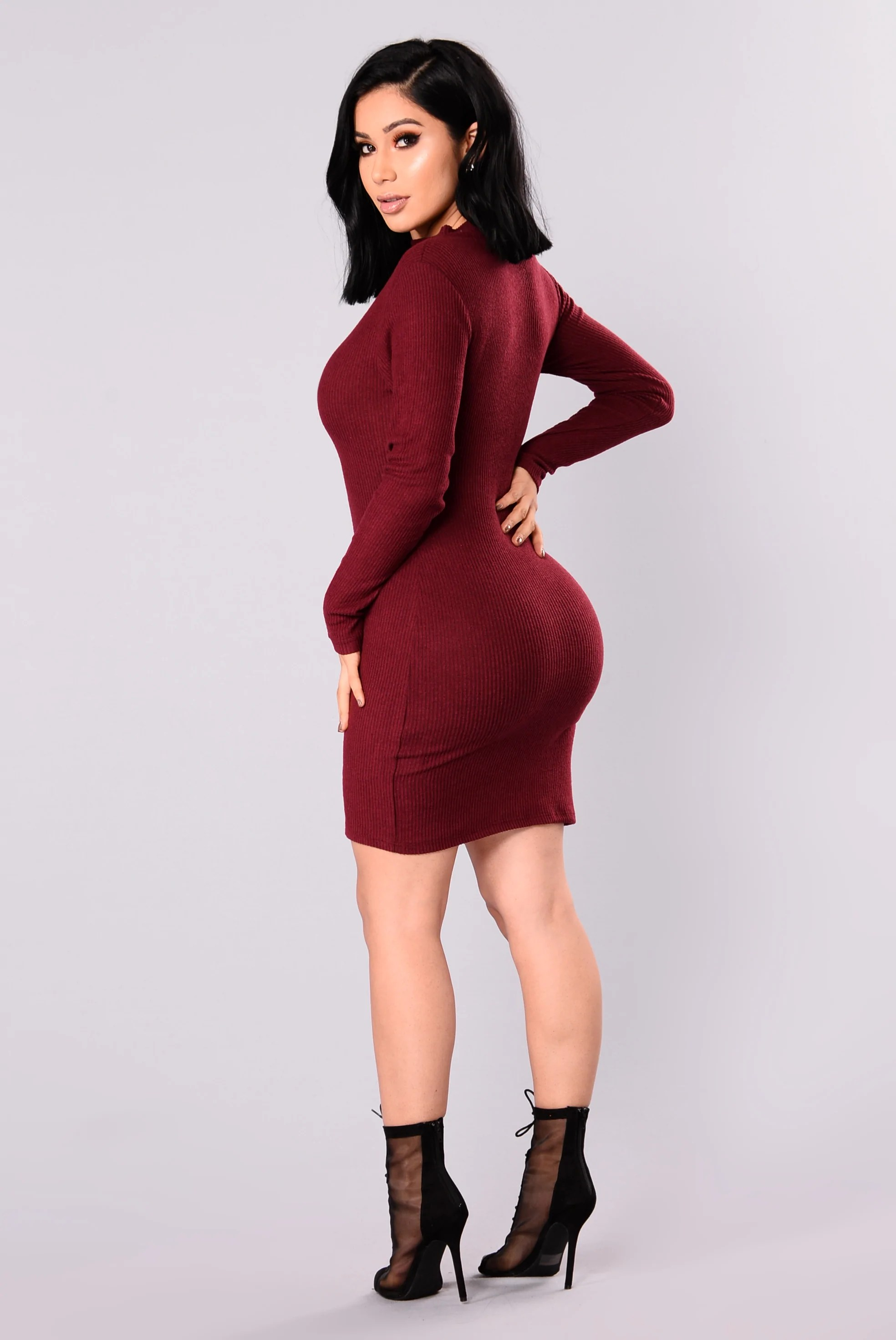 Frankie Ribbed Dress   Wine