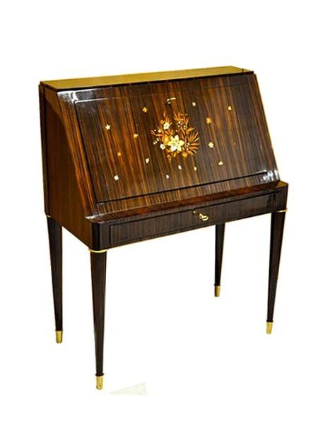 Jules Leleu Bureau Acajou Art Deco Macassar Secretaire