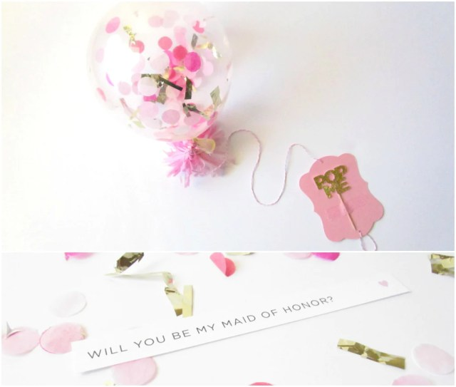 'Will you be my bridesmaid?' confetti-filled balloon. | The Ultimate List of Bridesmaid Proposal Ideas - 25 Creative Ways to ask Your Bridesmaids