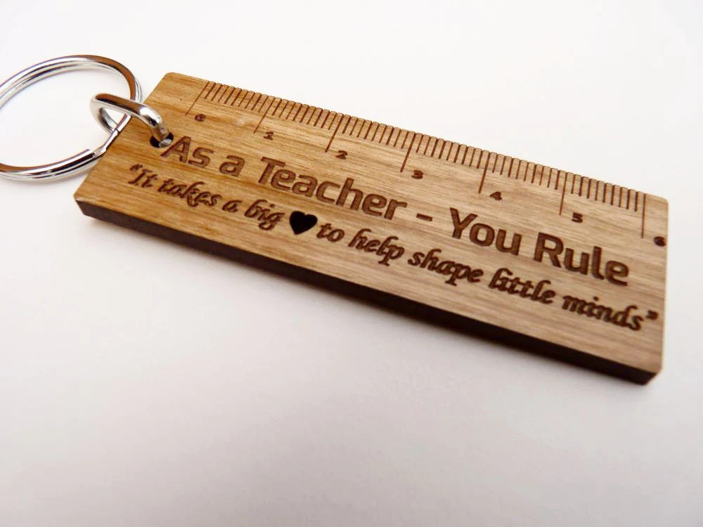 """As a Teacher - You Rule"" Ruler Keyring – Personalised Gifts"
