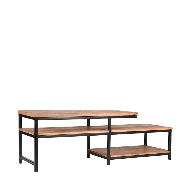 meuble tv industriel en bois et en metal polk