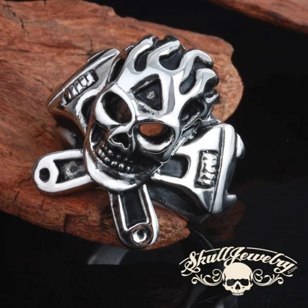 Ghost Rider Flaming Skull Ring With 2 Wrenches 382