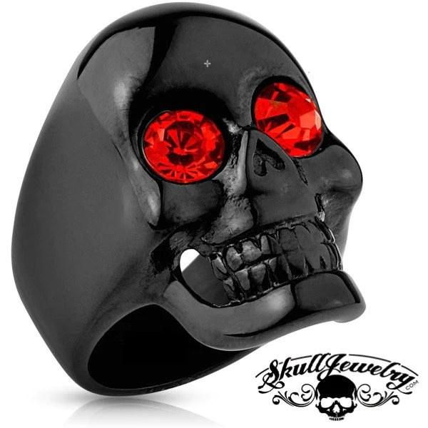 Best Of Both Worlds Black Skull Ring W Red Gem Eyes