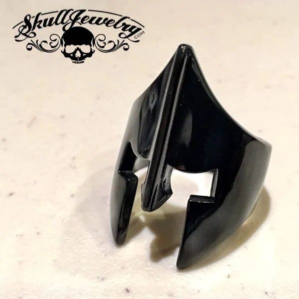 Black Spartan Mask Stainless Steel Ring 514