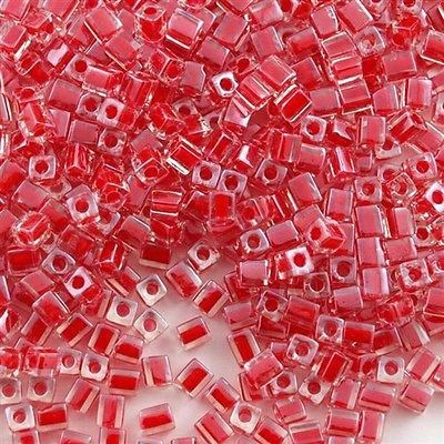 Miyuki 4mm Square Cube Seed Bead Inside Color Lined Red ...
