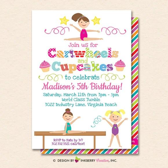 gymnastics party invitation white cartwheels and cupcakes gymnastics birthday party invite printable instant download editable pdf