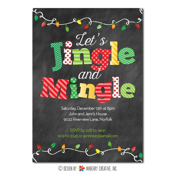 Mingle And Jingle Christmas Lights Invitation Traditional