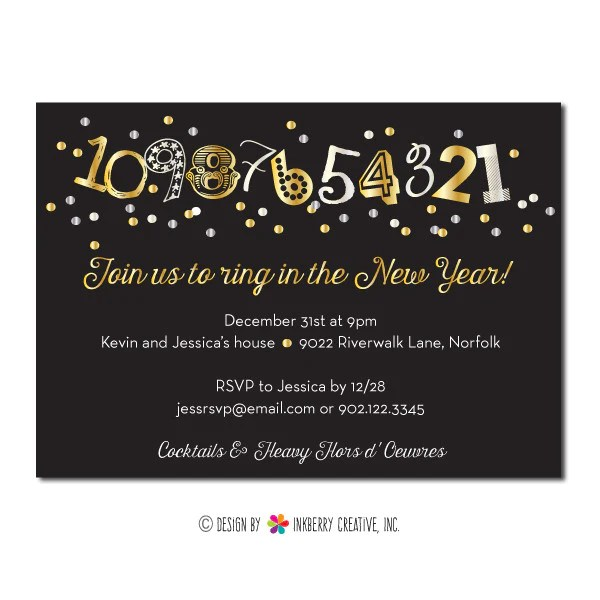 New Years Countdown Confetti Party Invitation Inkberry