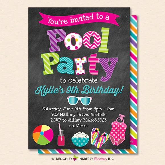 Find birthday invitation themes, and ideas for making your own invitations. Pool Party Invitation Summer Birthday Pool Party Printable Inst Inkberry Creative Inc