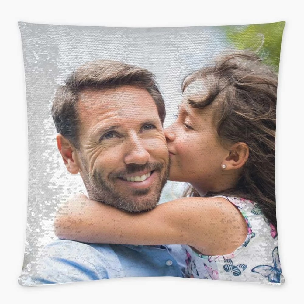 custom magic sequin pillow case of your photo personalized reversible mermaid sequin throw