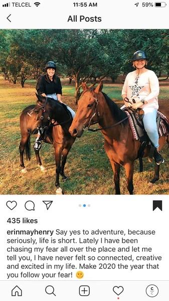 Instagram Post two females riding horses