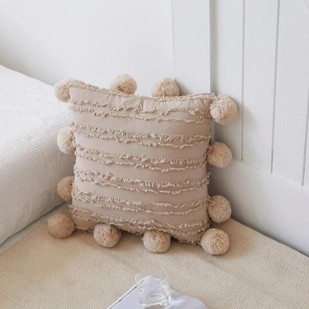 farrah pom pom throw pillow cover