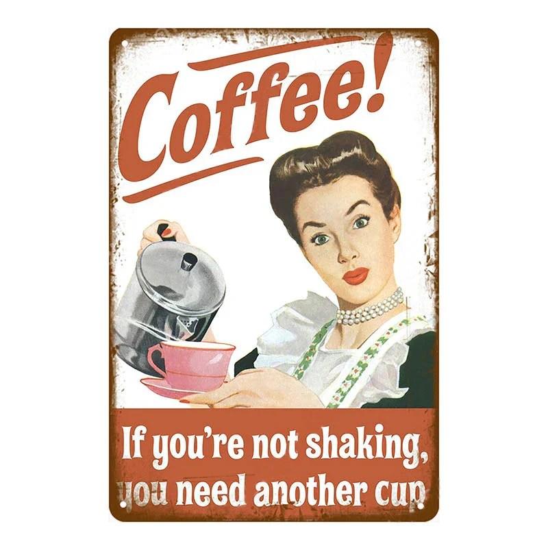 plaque metal vintage pin up coffee vintage lifestyle