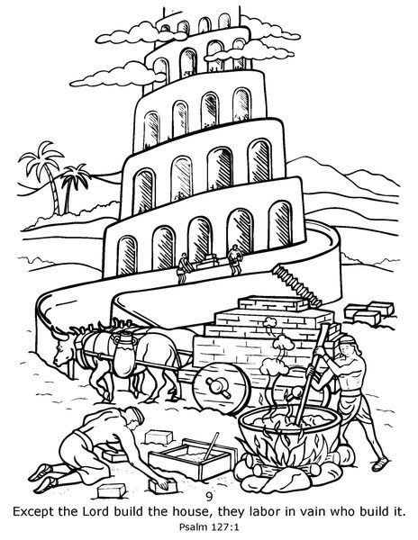 tower of babel coloring page # 89