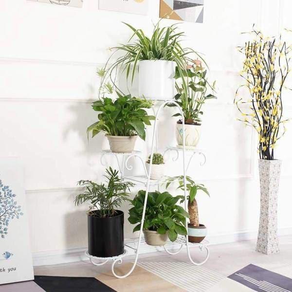 porte plante fer forge blanc