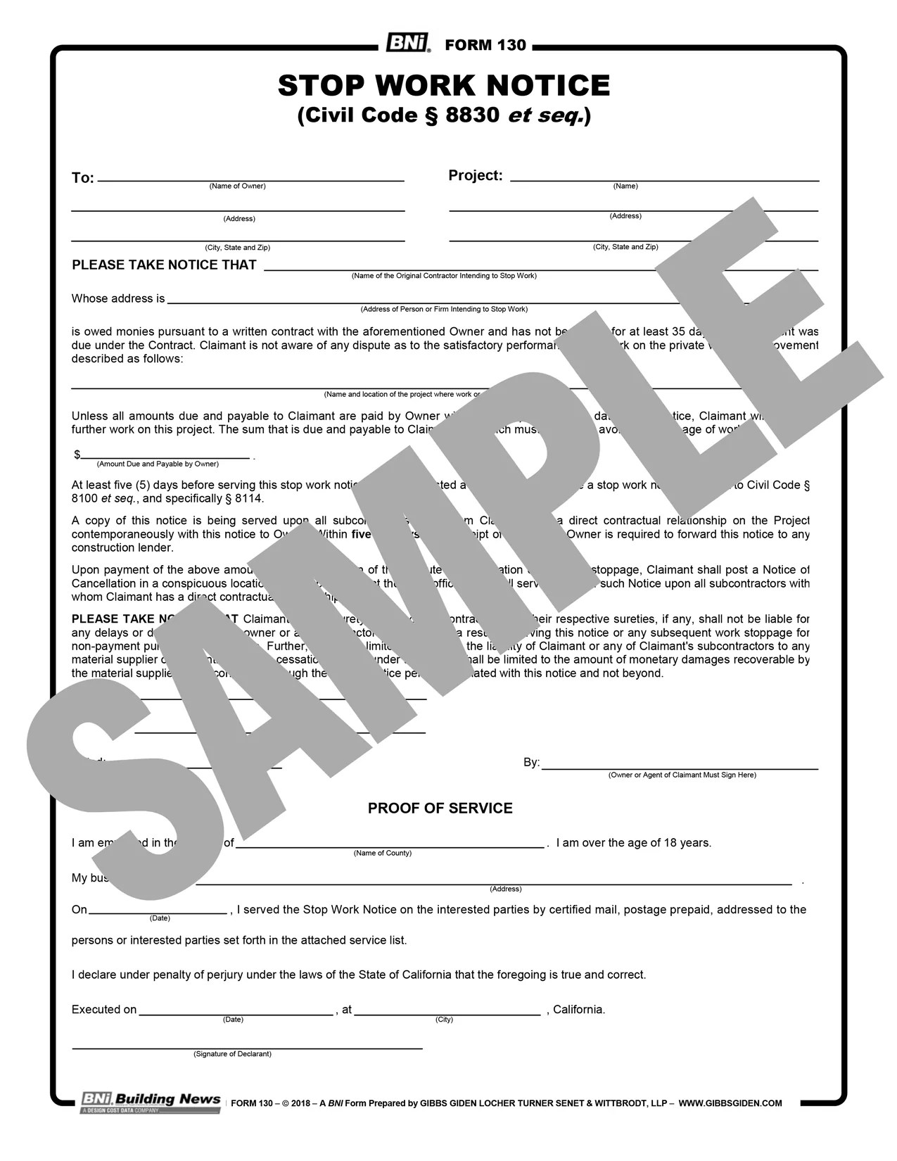Easily edit online, download, print or share via email. Form 130 10 Day Stop Work Order Reusable Pdf Format