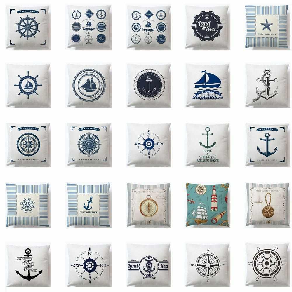 nautical pillow cases vintage style