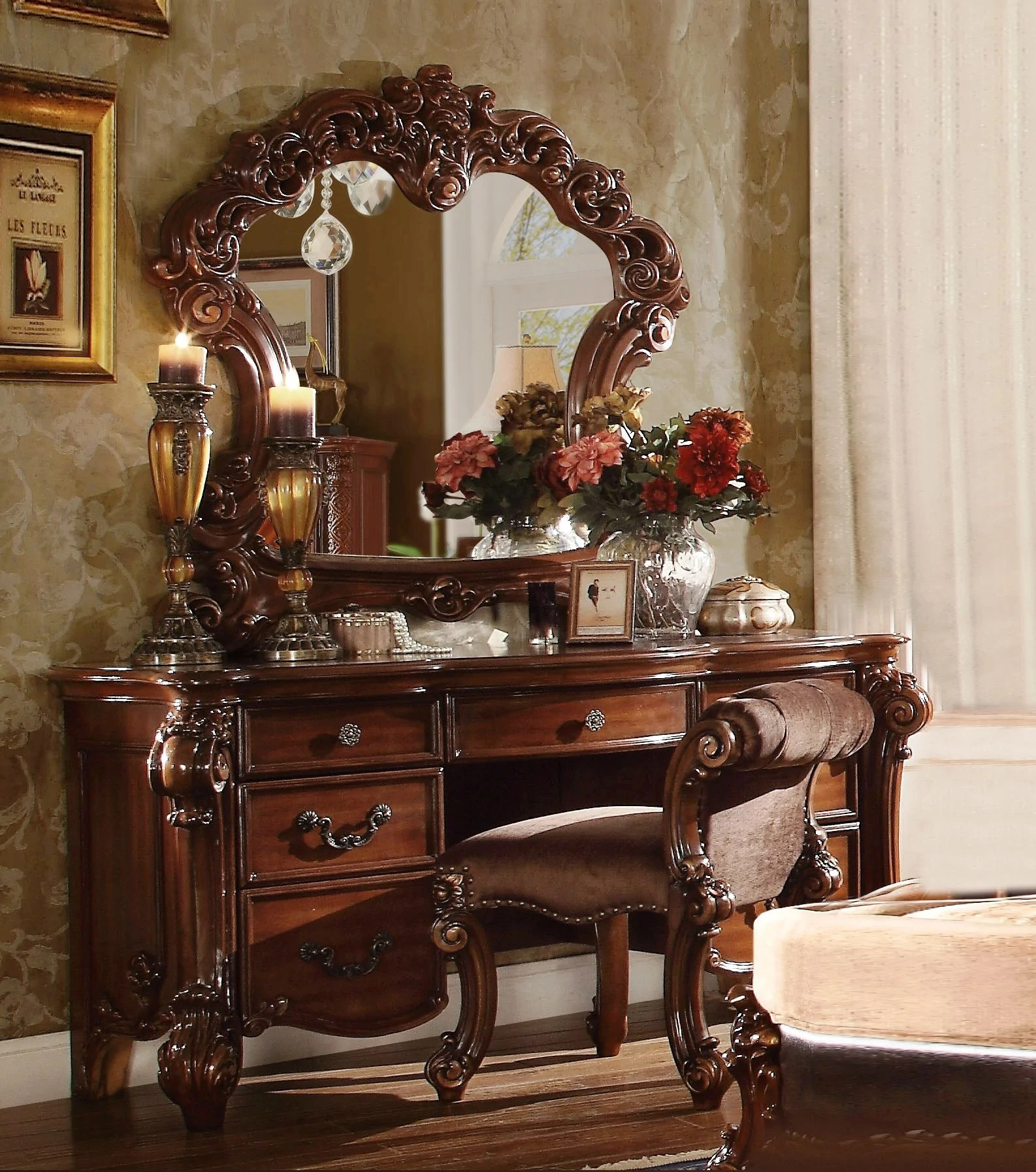 63 x 22 x 31 cherry wood vanity desk english elm