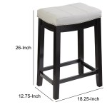 Saddle Top Wooden Counter Stool With Nailhead Accents Black And White English Elm