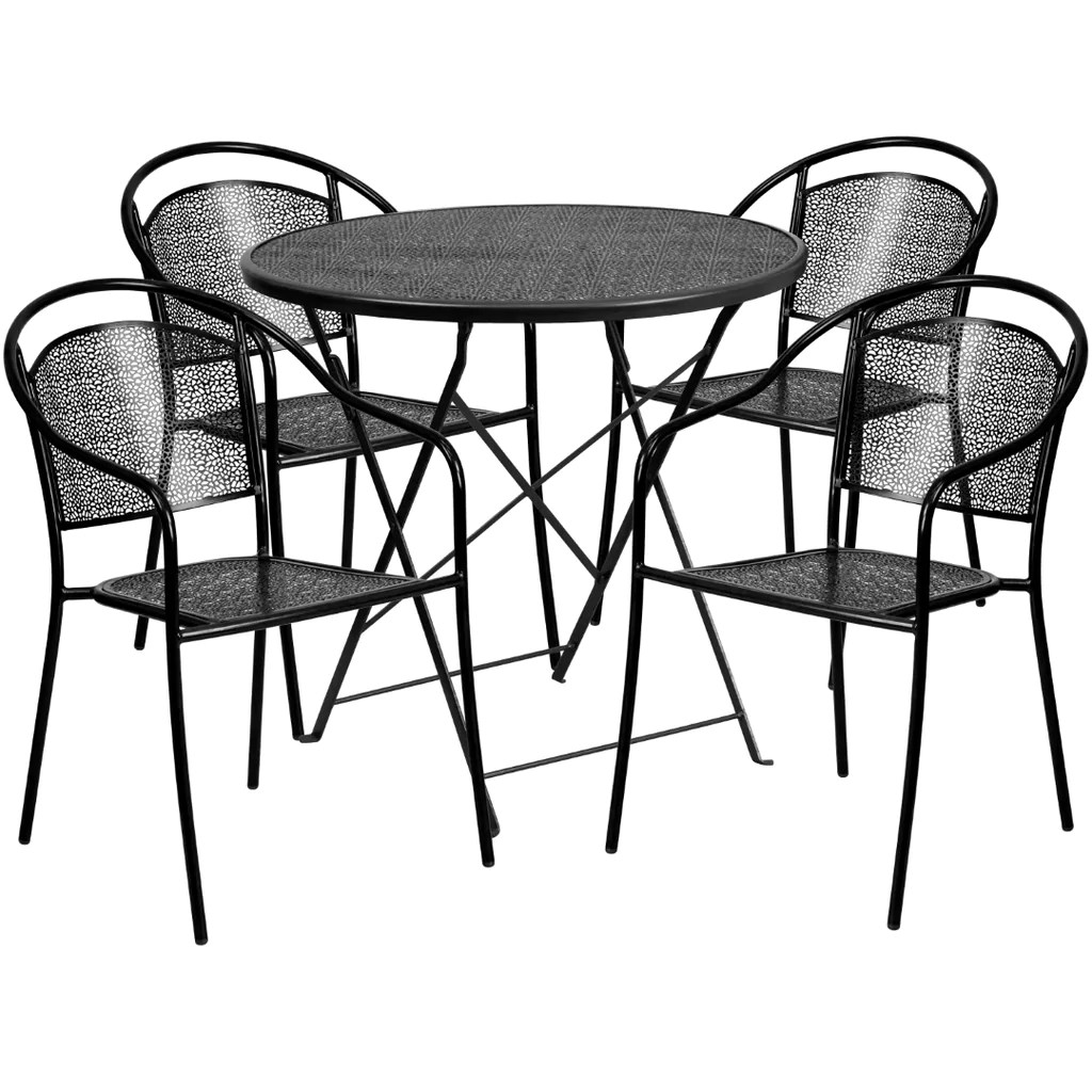 commercial grade 30 round indoor outdoor steel folding patio table set with 4 round back chairs