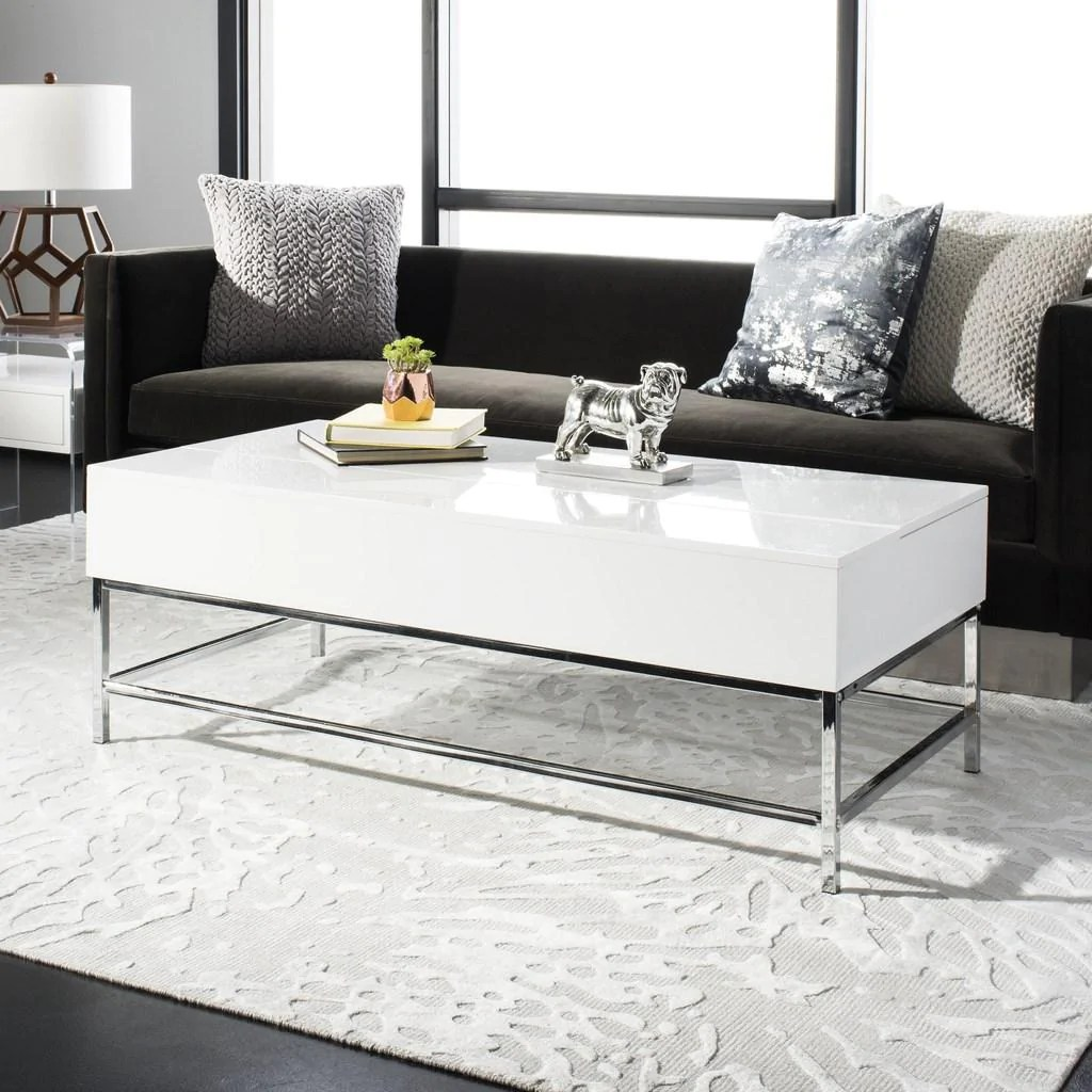 carolina coffee table contemporary lift top white lacquer chrome wood high glossy pu mdf metal tube