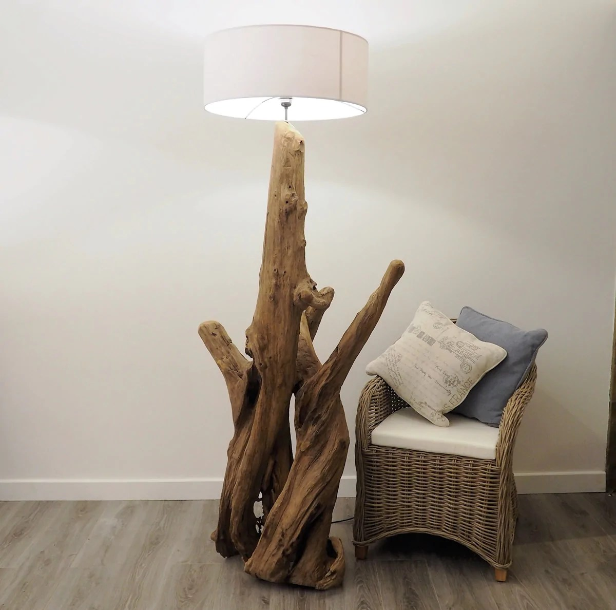 large wooden rustic root lamp
