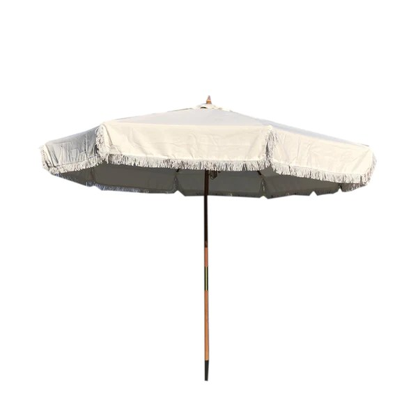 9ft 8 ribs replacement umbrella canopy w fringed valance in off white canopy only