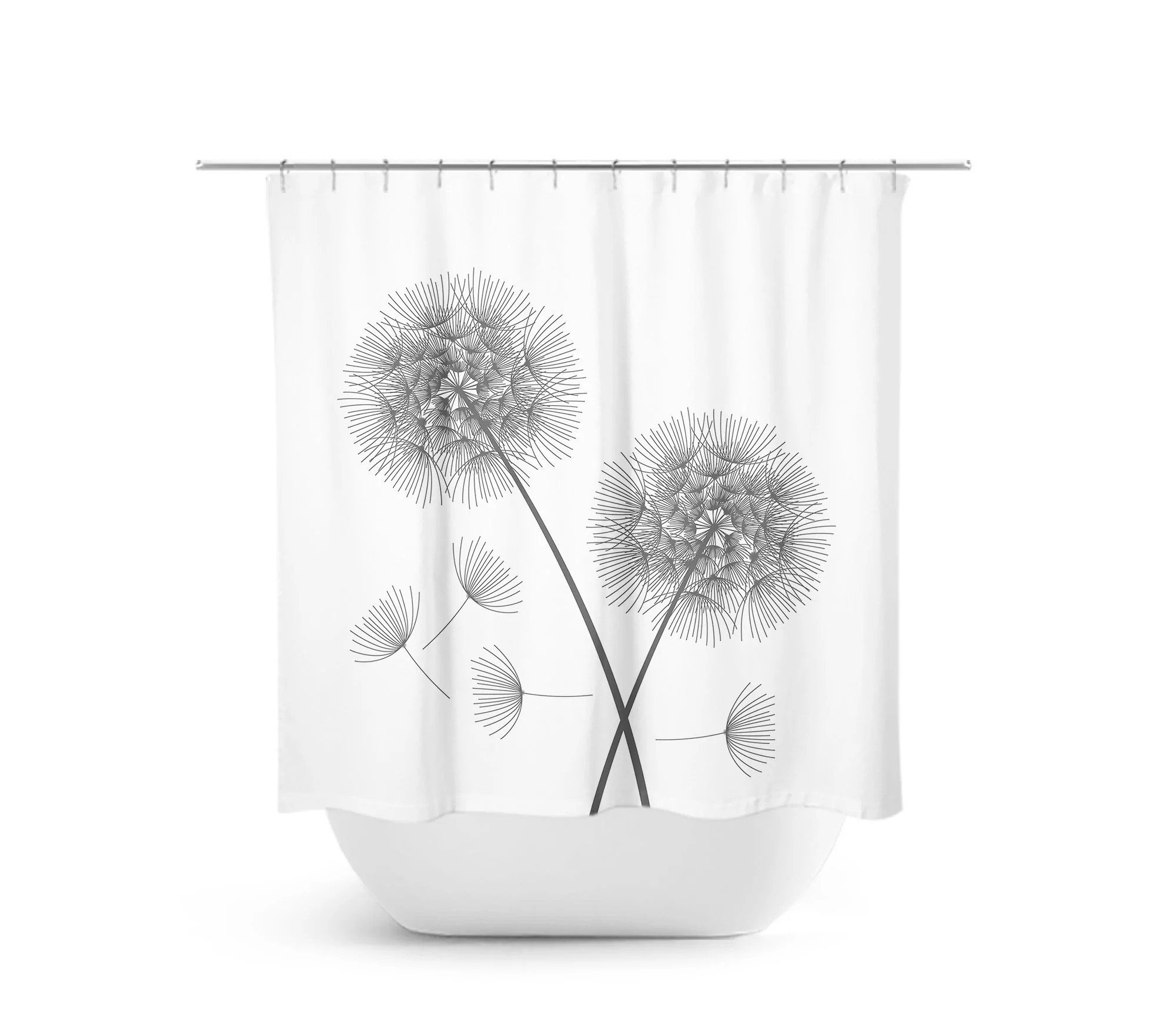 minimalist white gray dandelion fabric shower curtain shower54