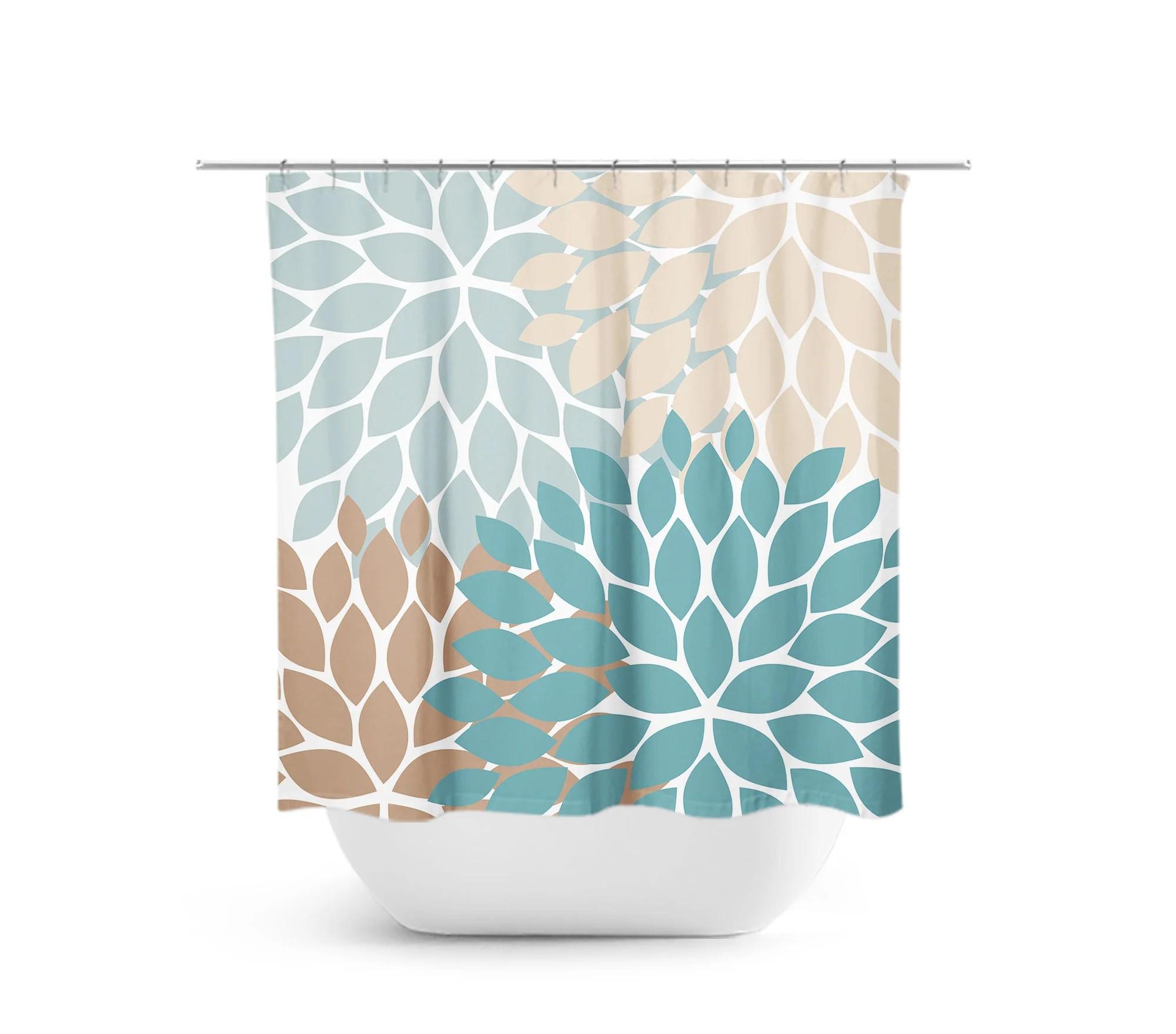 teal blue tan flower burst fabric shower curtain shower72
