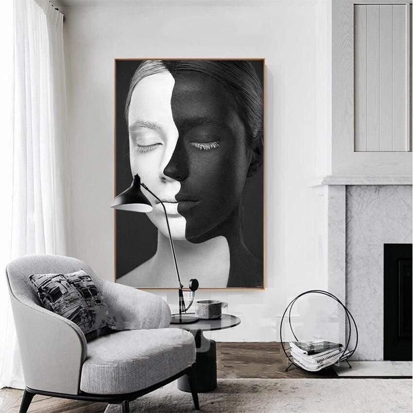 tableau visage noir blanc