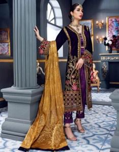 Emaan Adeel Sheer magenta MKH 6 Makhmal Luxury Velvet Edition