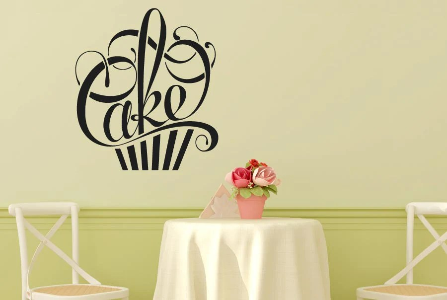 Writing In Form Of A Cake CUT IT OUT Wall Stickers Uk And
