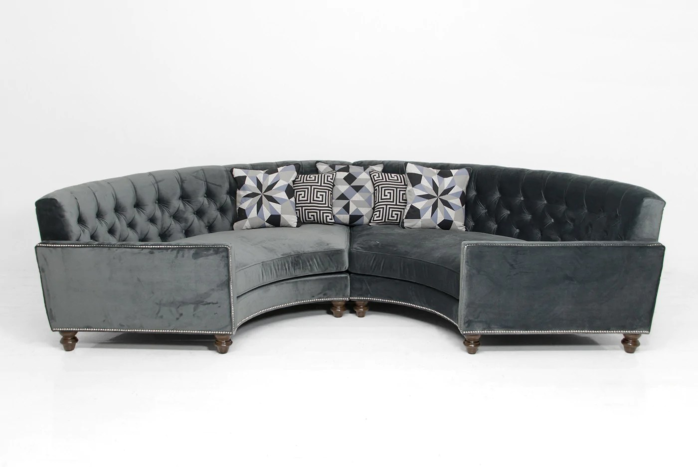 circle sectional in charcoal velvet