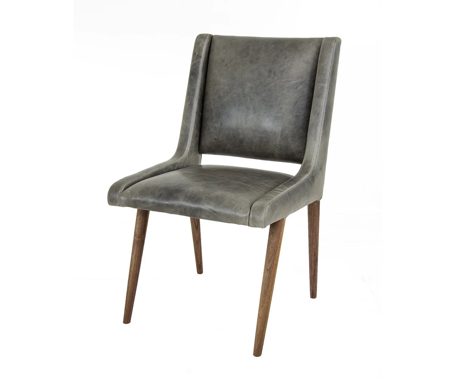 Mid Century Dining Chair In Distressed Grey Leather