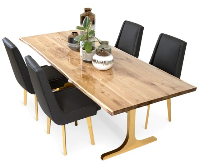 Live Edge Bleached Solid Walnut Slab Dining Table With Resin Finish Modshop1 Com