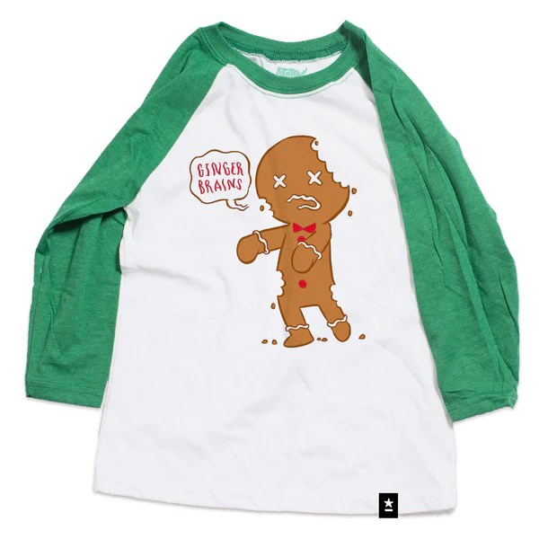 Gingerbread Zombie Raglan T Shirt Kids Stately Type
