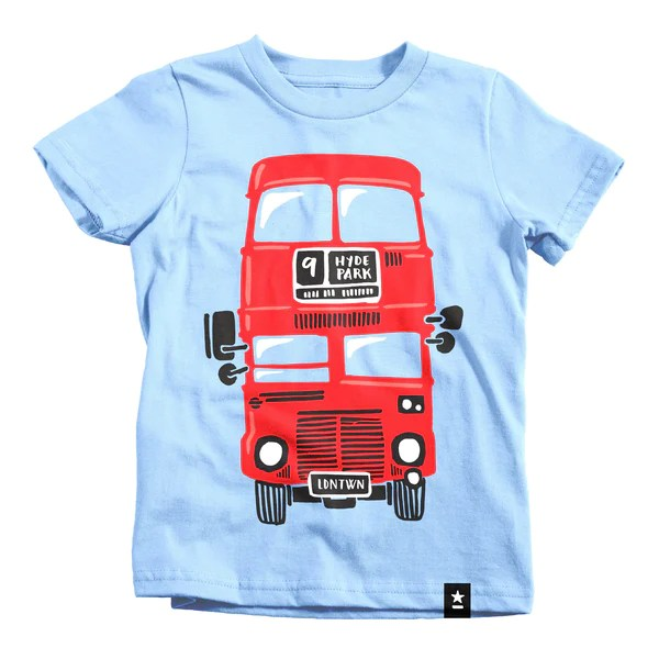 London Red Double Decker Bus T Shirt Kids Stately Type