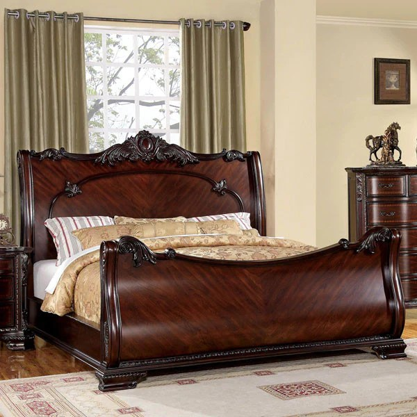 bellefonte baroque style brown cherry 6 piece bedroom set