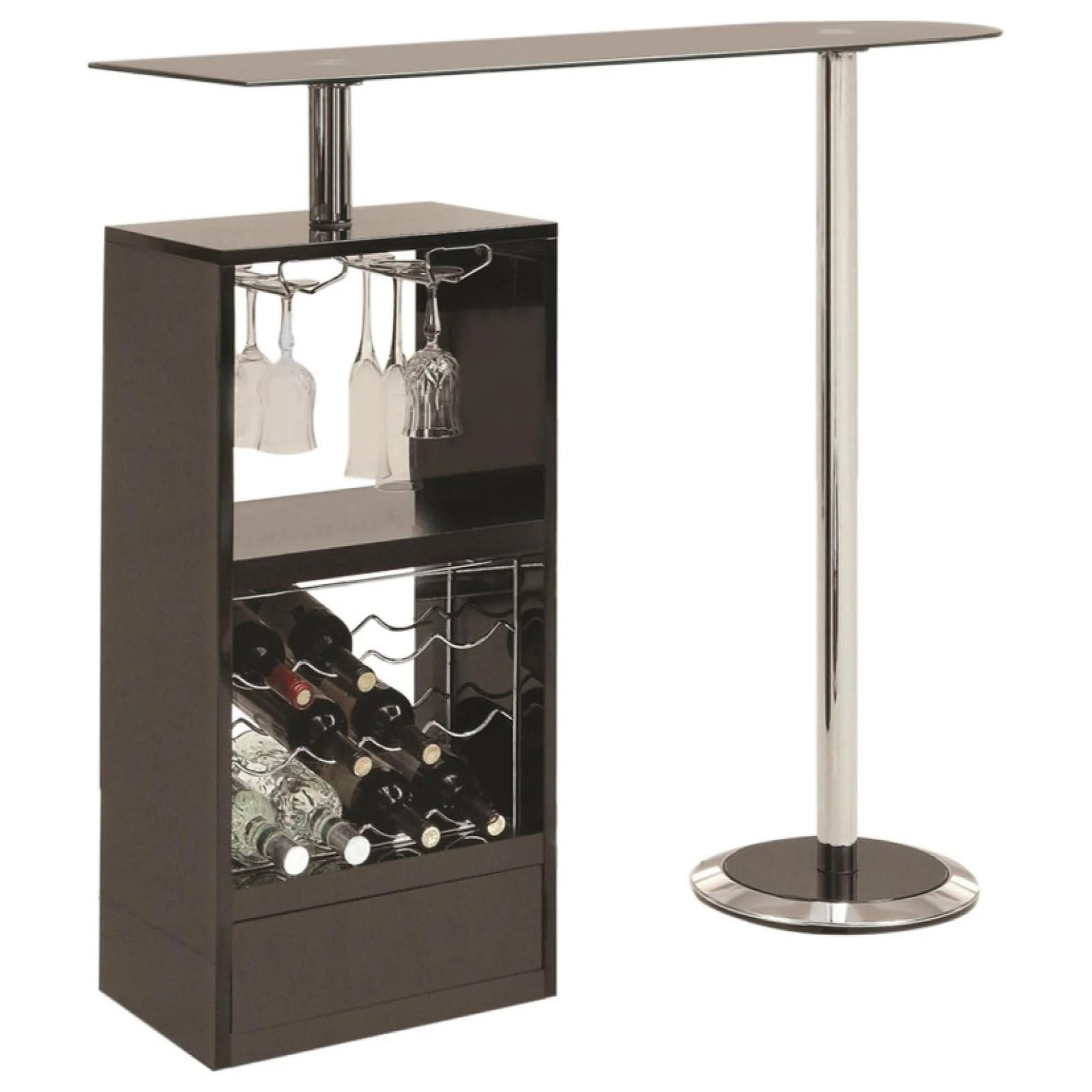 black bar table with wine rack