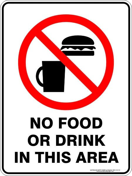 No Food Or Drink In This Area Australian Safety Signs
