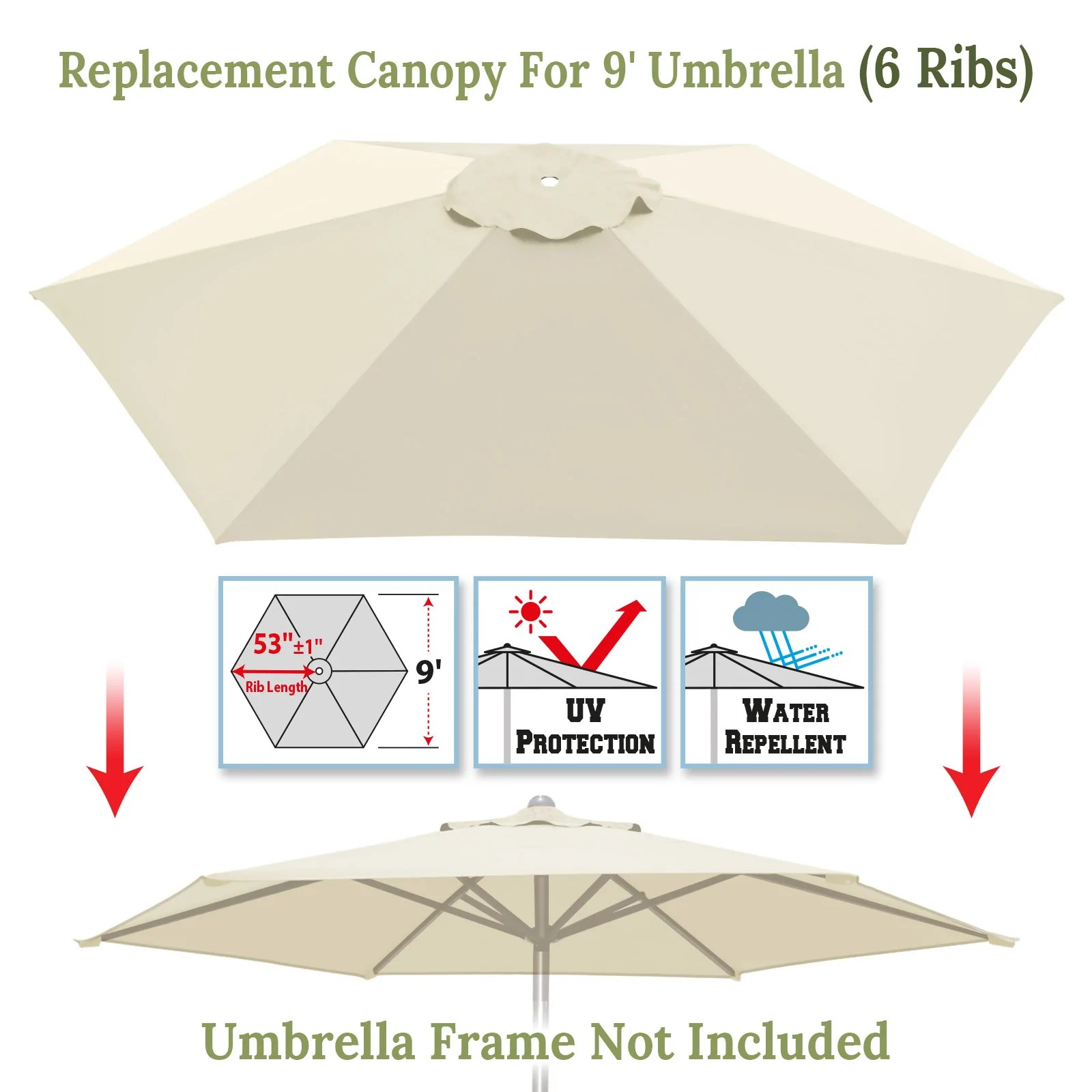 umbrella cover canopy 9ft 6 ribs patio replacement top outdoor