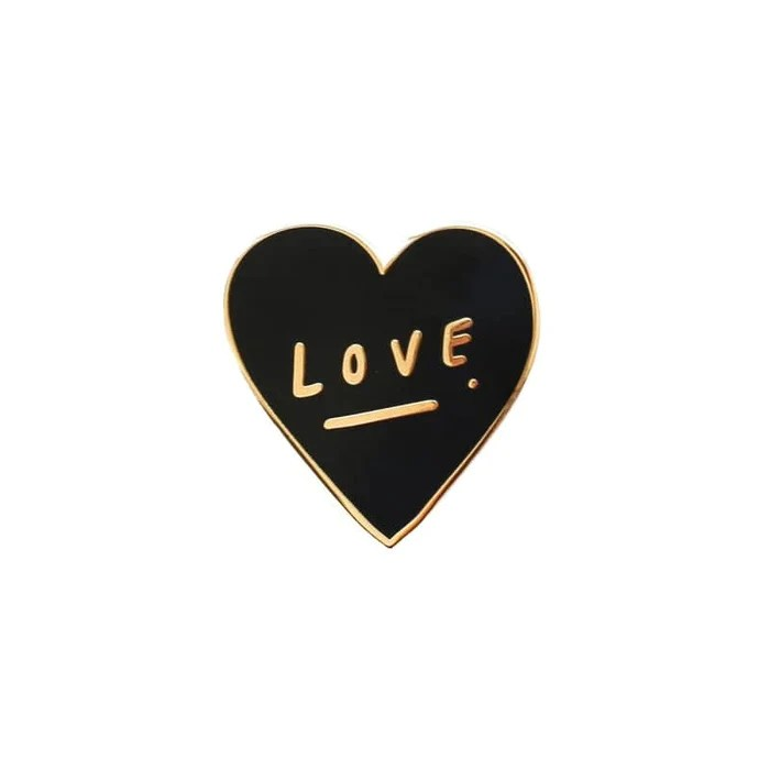 hand lettered love heart enamel pin