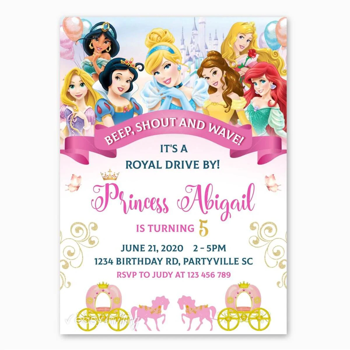 disney princesses birthday parade invitation