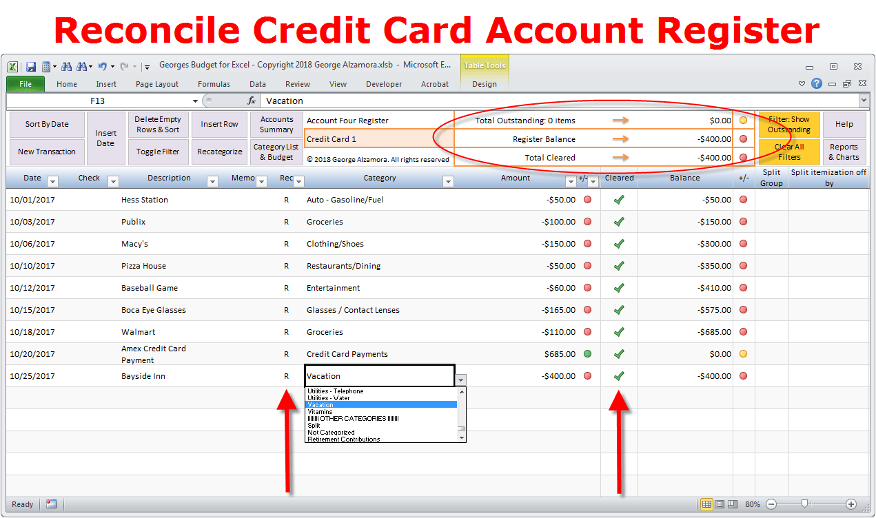 Are still outstanding), and the pending (open) trust account ledger sheets. How To Reconcile Credit Card Account In Excel Checkbook Register Buyexceltemplates Com