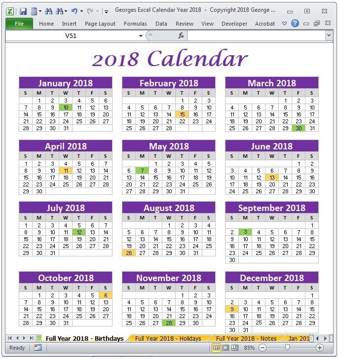 2018 calendar full year