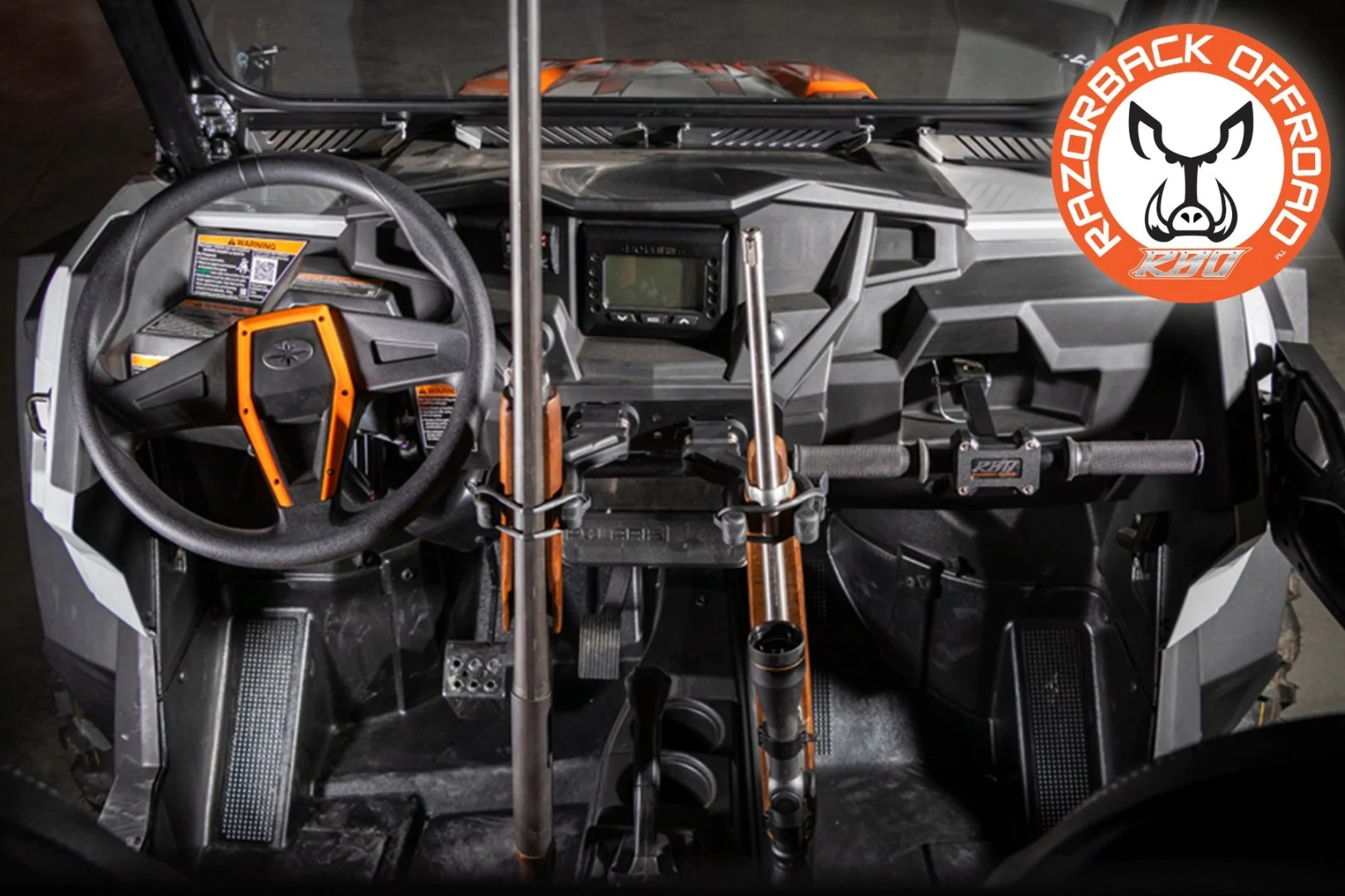polaris rzr ultimate gun rack grab handle lug wrench by razorback offroad