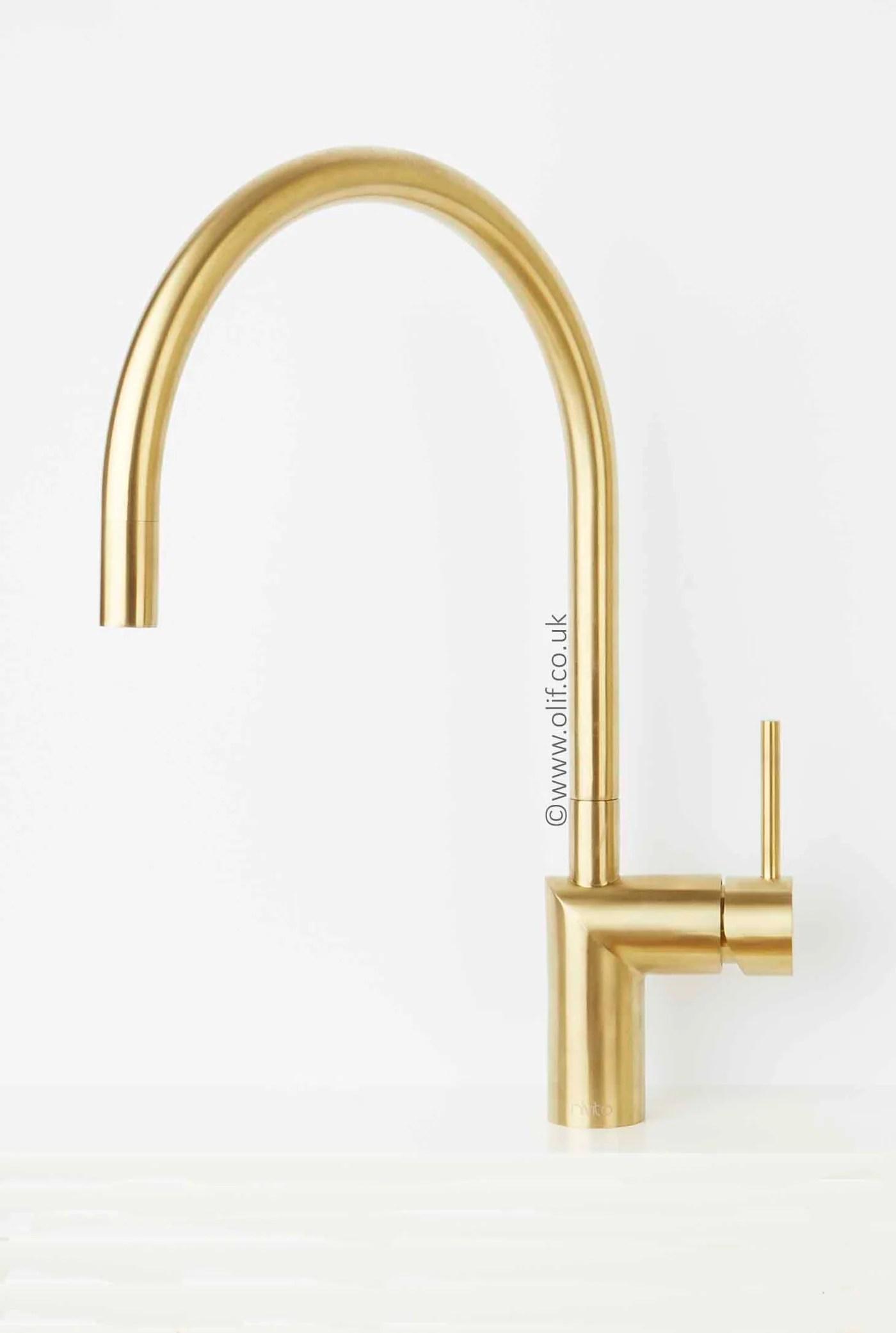 nivito rh 140 brushed brass gold kitchen mixer tap