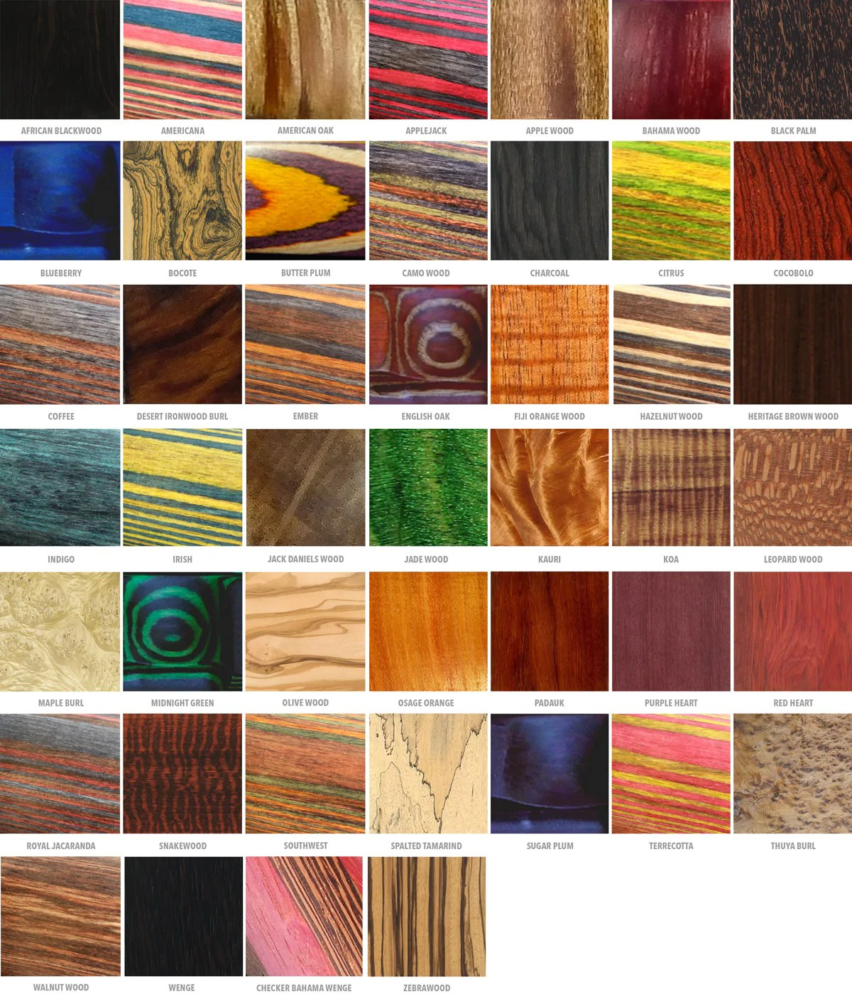 Available Wood Types Wedding Rings And Bands