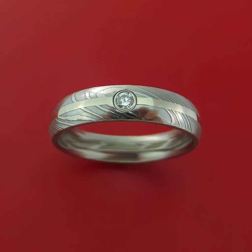 Damascus Steel 14K White Gold Ring With Beautiful Diamond